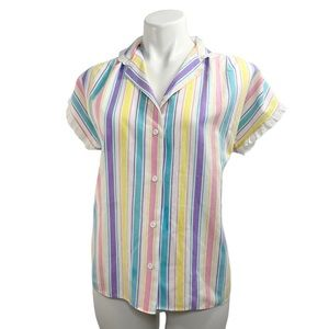 1980s Vintage Rainbow / Candy Striped Blouse